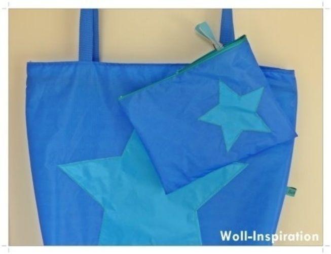 Makerist - Blau-petrol farbige Badetasche mit Stern    - Nähprojekte - 1