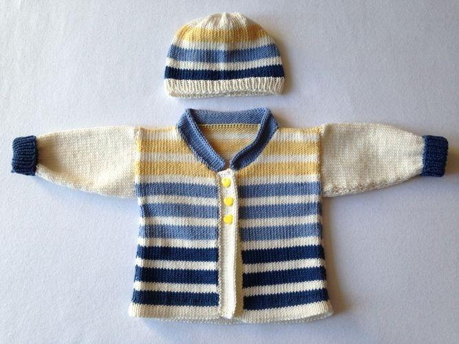 Makerist - Babyjäckchen mit passender Mütze für kleine Jungs in Gr. 50/56 - Strickprojekte - 1