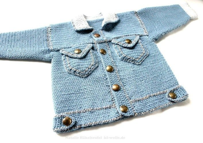 Makerist - Jeansjacke in Strickoptik - Häkelprojekte - 1