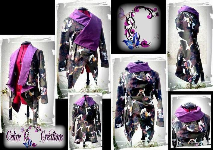 Makerist - Veste asymétrique faite en velours côtelé imprimé militaire fleuri - Créations de couture - 1
