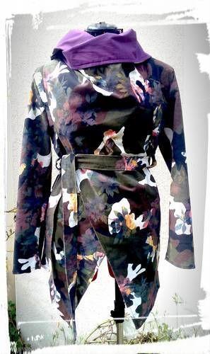 Makerist - Veste asymétrique faite en velours côtelé imprimé militaire fleuri - Créations de couture - 2