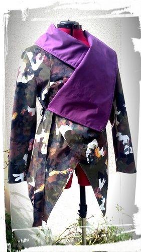Makerist - Veste asymétrique faite en velours côtelé imprimé militaire fleuri - Créations de couture - 3