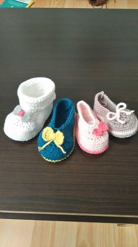 Makerist - Chaussons fille 0/3mois en laine et acrylique  - Créations de crochet - 1