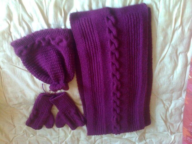 Makerist - ensemble hiver écharpe, bonnet, mitaines - Créations de tricot - 1