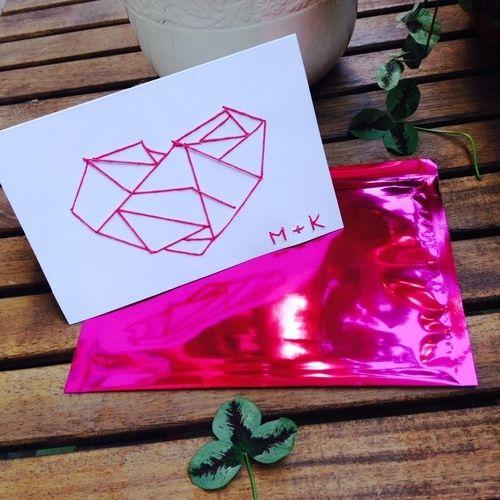 Makerist - Sticken // Hochzeitskarte - DIY-Projekte - 1