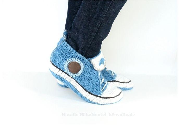 Makerist - Sneakers für Zuhause in Jeansoptik - Häkelprojekte - 1