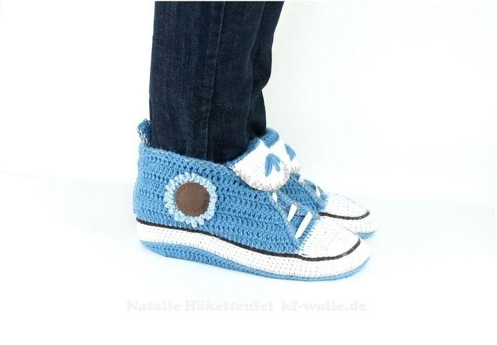 Makerist - Sneakers für Zuhause in Jeansoptik - Häkelprojekte - 3