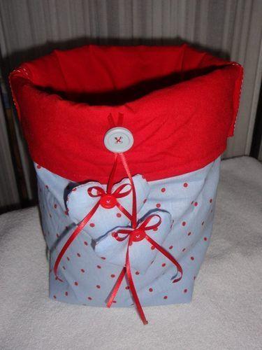 Makerist - Stoffkorb in rot/blau - Nähprojekte - 1