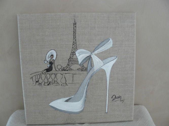 Makerist - A Paris, quand un amour sourit...... Acrylique et encre de chine sur toile de lin  - Autres créations - 1