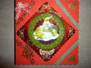 Weihnachtskarte in grün und rot!