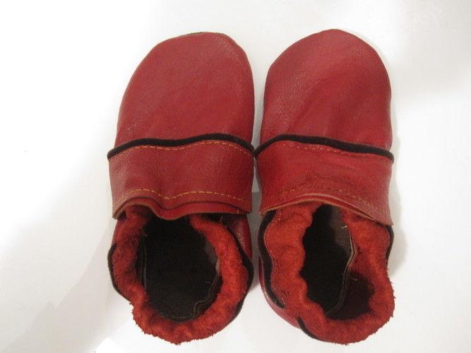 Makerist - die Krabbelschuhe aus rotem Flohmarkt-Leder - Nähprojekte - 1