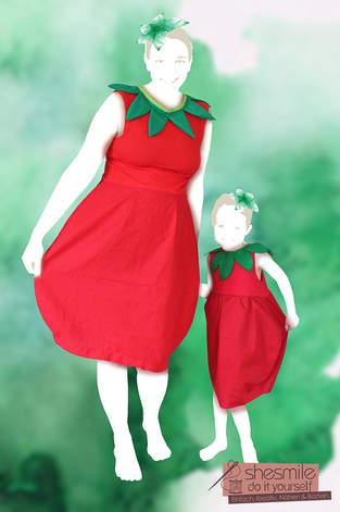 Makerist - Mama-Tochter-Erdbeer-Ballonkleid - 1