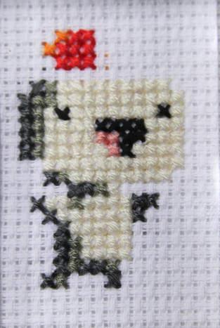Fez Pixel-Art gestickt