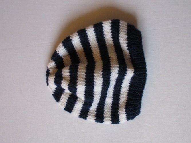 Makerist - Gilet bébé bleu marine à  rayures blanches en mérinos et son bonnet - Créations de tricot - 3