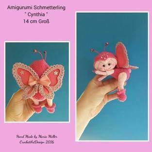 """Amigurumi Schmetterling """" Cynthia """" 14 cm Groß"""