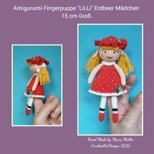 """Makerist - Finger Puppe """" Lilli """" das Erdbeer Mädchen 15 cm Groß - 1"""