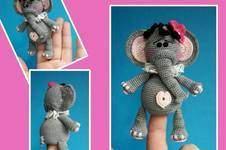"""Makerist - Elefant Fingerpuppe """" Rosi """" Häkelanleitung 12 cm Groß - 1"""