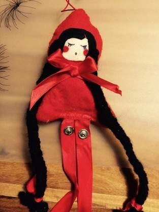 Haarspangenpuppe Rotkäppchen