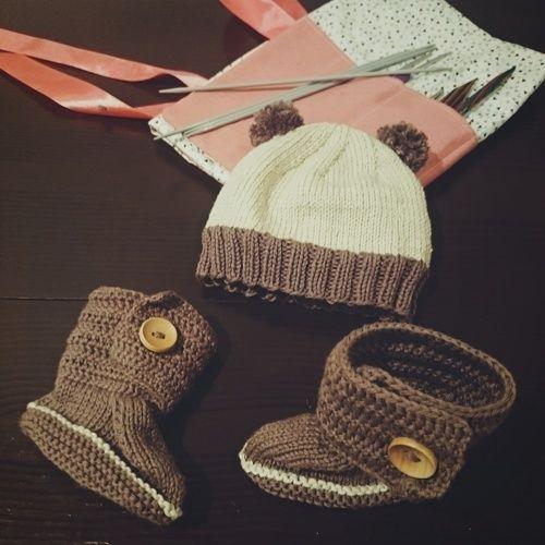 Makerist - Babyset (Booties und Bärchenmütze) - Strickprojekte - 1