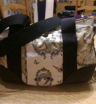 Handtasche aus Baumwollstoff und Leder, mein Ostergeschenk.